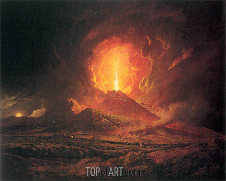 An Eruption of Vesuvius seen from Portici, c.1774/76 | Wright of Derby | Painting Reproduction