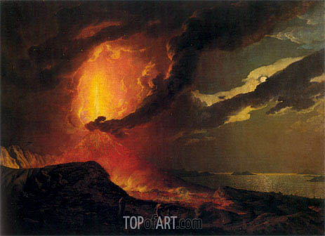 Vesuvius in Eruption with a View over the Islands in the Bay of Naples, c.1776/80 | Wright of Derby | Gemälde Reproduktion