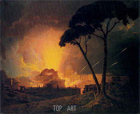 The Annual Girandola at the Castle of St Angelo Rome, 1776 | Wright of Derby | Painting Reproduction
