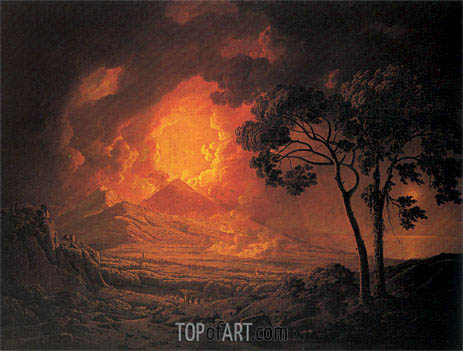 An Eruption of Mout Vesuvius with the Procession of St Januarius's Head, 1778 | Wright of Derby | Painting Reproduction