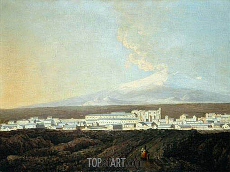 A View of Catania with Mount Etna in the Distance, c.1775 | Wright of Derby | Gemälde Reproduktion