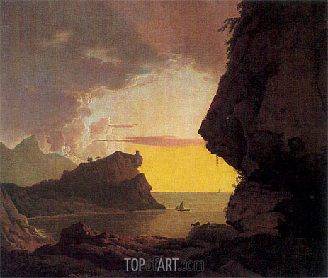 Sunset on the Coast near Naples, c.1785/90 | Wright of Derby | Painting Reproduction