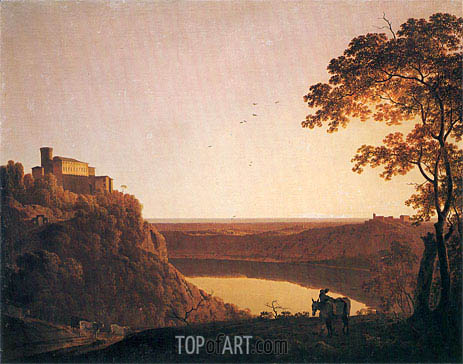 Lake Nemi at Sunset, c.1790 | Wright of Derby | Painting Reproduction