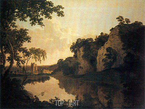 Wright of Derby | Landscape with Dale Abbey and Church Rocks, c.1785