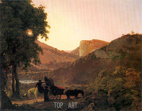Wright of Derby | Landscape with Figures and a Tilted Cart, Matlock High Tor in the Distance, c.1790