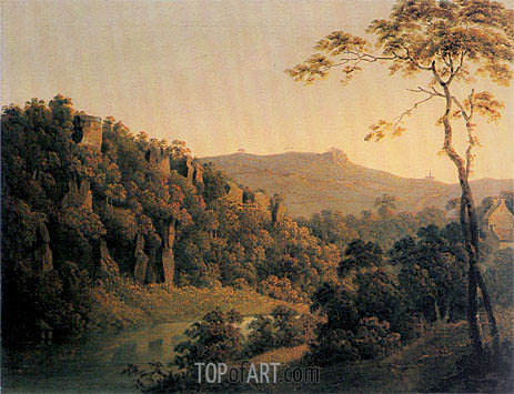 Wright of Derby | View in Matlock Dale looking South to Black Rock Escarpment, c.1780/85