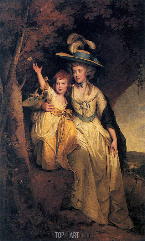 Portrait of Susannah Hurt with her daughter Mary Anne, c.1789/90 | Wright of Derby | Gemälde Reproduktion