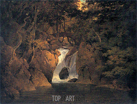 Rydal Waterfall, 1795 | Wright of Derby | Painting Reproduction
