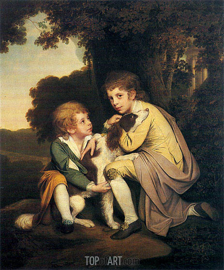 Portrait of Thomas and Joseph Pickford as Children, c.1777/79 | Wright of Derby | Painting Reproduction