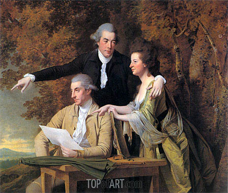 The Rev. D'Ewes Coke his Wife Hannah and Daniel Parker Coke, c.1781/82 | Wright of Derby | Painting Reproduction