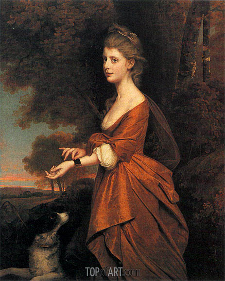 Portrait of a Girl in a Tawny Coloured Dress, c.1780 | Wright of Derby | Painting Reproduction