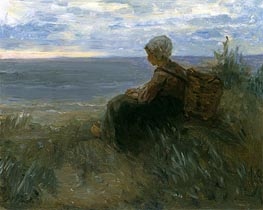 A Fishergirl on a Dune-Top Overlooking the Sea, c.1900 von Jozef Israels | Gemälde-Reproduktion