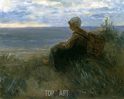 Jozef Israels | A Fishergirl on a Dune-Top Overlooking the Sea, c.1900