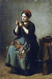 Peasant Woman Threading a Needle, 1861 von Jules Breton | Gemälde-Reproduktion
