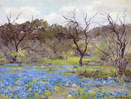 Early Spring, Bluebonnets and Mesquite, 1919 by Julian Onderdonk | Painting Reproduction