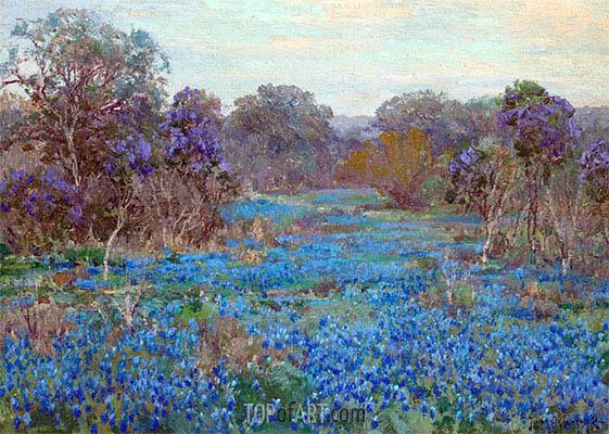 Julian Onderdonk | Blaue Wiesenlupine Feld mit Bäumen, undated