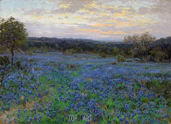 Field of Bluebonnets at Sunset, undated | Julian Onderdonk | Painting Reproduction