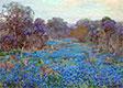 Blaue Wiesenlupine Feld mit Bäumen, undated | Julian Onderdonk