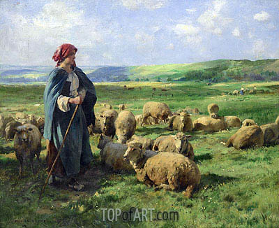 A Young Shepherdess Watching Over Her Flock, undated | Julien Dupre | Painting Reproduction