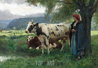 Peasant Woman with Cows,  | Julien Dupre | Painting Reproduction