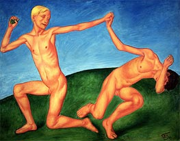 The Playing Boys, 1911 by Kuzma Petrov-Vodkin | Painting Reproduction