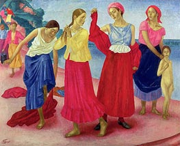 Young Women on the Volga, 1915 von Kuzma Petrov-Vodkin | Gemälde-Reproduktion