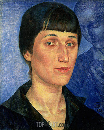 Portrait of Anna Akhmatova, 1922 | Kuzma Petrov-Vodkin | Painting Reproduction