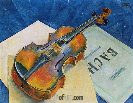Still Life with a Violin, 1921 | Kuzma Petrov-Vodkin| Painting Reproduction