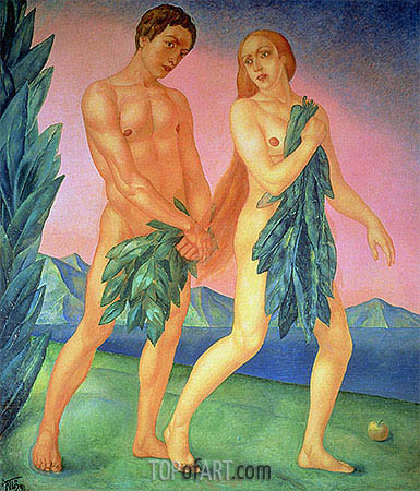 The Expulsion from Paradise, 1911 | Kuzma Petrov-Vodkin | Gemälde Reproduktion