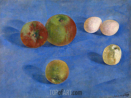 Still Life, Apples and Eggs, 1921 | Kuzma Petrov-Vodkin | Painting Reproduction