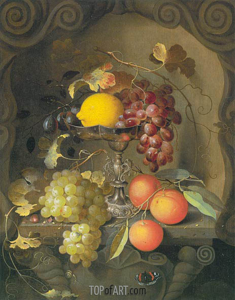 Still Life with Cartouche, c.1660 | Laurens Craen | Painting Reproduction