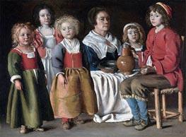 Eine Frau und fünf Kinder | Le Nain Brothers | Gemälde Reproduktion