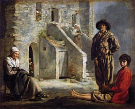 Peasants Before Their House, c.1641 by Le Nain Brothers | Painting Reproduction