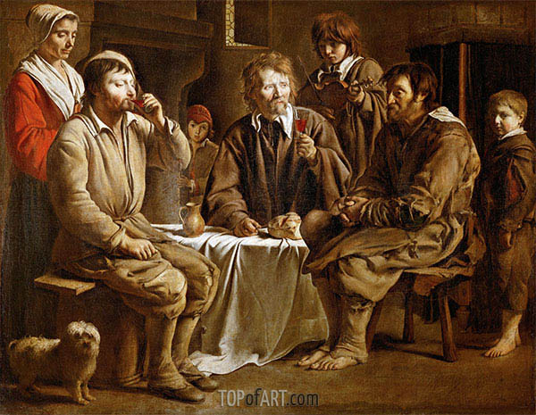 The Peasant Meal, 1642 | Le Nain Brothers | Painting Reproduction