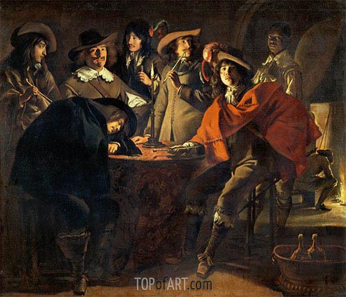 Gesellschaft von Rauchern (Die Wächter), 1643 | Le Nain Brothers | Gemälde Reproduktion