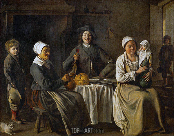Peasant Family (The Return from the Baptism), 1642 | Le Nain Brothers | Painting Reproduction