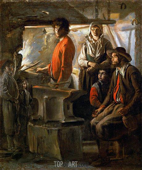 Die Schmiede, c.1625/48 | Le Nain Brothers | Gemälde Reproduktion