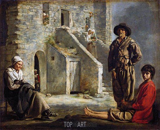 Le Nain Brothers | Bauern vor ihrem Haus, c.1641