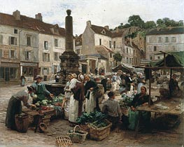 The Market at Chateau-Thierry | Leon-Augustin Lhermitte | Painting Reproduction