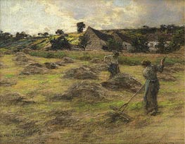 Haymaking Behind the Farm | Leon-Augustin Lhermitte | Painting Reproduction