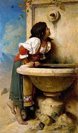 Römische Mädchen an einem Brunnen, 1875 von Leon Bonnat | Gemälde-Reproduktion