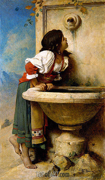 Roman Girl at a Fountain, 1875 | Leon Bonnat | Painting Reproduction