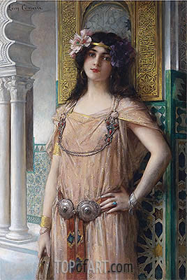 A Bejeweled Harem Beauty, undated | Leon Comerre| Painting Reproduction