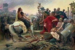 Vercingetorix wirft hinunter seine Arme an den Füßen von Julius Caesar, 1899 von Lionel Royer | Gemälde-Reproduktion