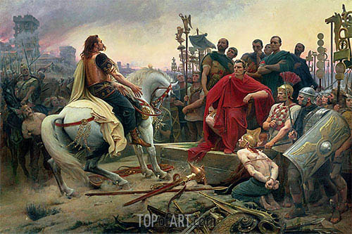 Lionel Royer | Vercingetorix Throws down his Arms at the Feet of Julius Caesar, 1899
