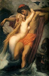 The Fisherman and the Syren, 1857 von Frederick Leighton | Gemälde-Reproduktion