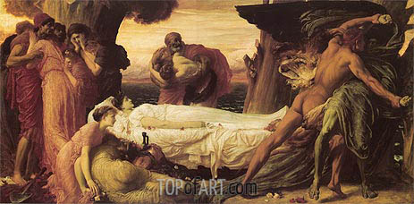 Hercules Wrestling with Death for the Body of Alcestis, c.1869/71 | Frederick Leighton | Gemälde Reproduktion