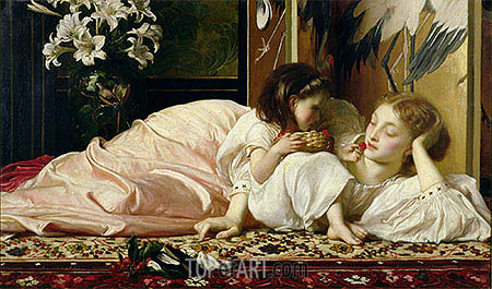 Mother and Child (Cherries), c.1865 | Frederick Leighton | Painting Reproduction
