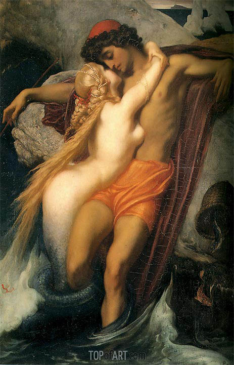 The Fisherman and the Syren, 1857 | Frederick Leighton| Painting Reproduction