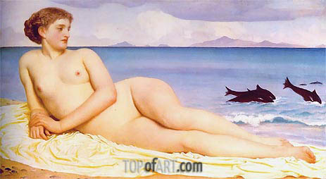 Actaea, the Nymph of the Shore, 1868 | Frederick Leighton| Painting Reproduction